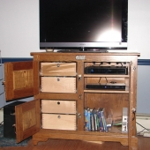 Oak Icebox open TV Stand