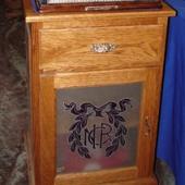 Oak cabinet with glass door