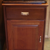 """Solid cherry """"standard"""" cabinet with rope accent"""